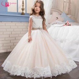 Wholesale Hot Pink Girls Gown - Little Queen Dress White Lace Flower Girl Dresses Wedding Party Beaded Waistline Children's Dress 2017 Hot Selling