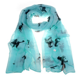 Wholesale Running Free Horses - Wholesale-New Design Women Running Horse Print Long Scarf Shawl Wrap Stole Voile free shipping!
