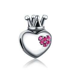 Wholesale Crowned Heart Pendant Necklace - Wholesale 30pcs Love Heart Crown Crystal & Silver Charm Beads Pendant Fit European Pandora Charms Sterling Bracelet & Necklace Women Jewelry