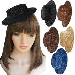 Sombrero haciendo manualidades online-Para mujer de Color Sólido Base de Sombrerería Mini Flat Top de Paja de Bowler Hat Craft Fascinators DIY Making A224