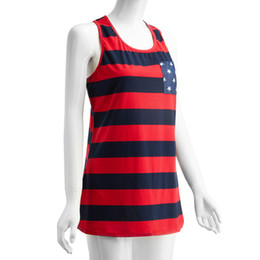 Wholesale American Flag Shorts Women - Wholesale-NEW Summer Style American Flag Stripe Star Print Tops & TeesT-Shirts Sexy Summer Tops Shirt for Women Sleeveless Shirts *35