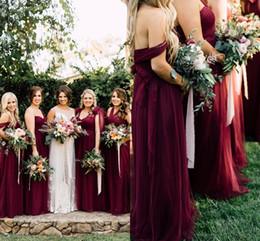 Wholesale Junior Off Shoulder Dresses - 2018 Modest Burgundy Tulle Long Country Bridesmaid Dresses Ruched Off-Shoulder Florals Autumn Garden Wedding Party Guest Junior Gowns