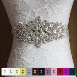 Wholesale Wedding Dresses 28 - Real Image Wedding Dresses Sash Bridal Belts Rhinestone Crystal Ribbon From Prom Evening Princess Handmade Blush Wedding Sashes