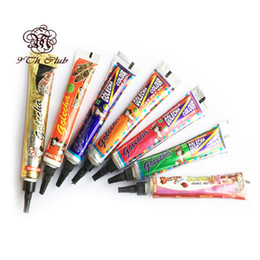 Wholesale Tube Paints - Wholesale- 7pcs lot GOLECHA Black Brown Henna Tattoo Paste Cream Tube, Indian Mehndi Color Colored Henna Paste Cones For Body Paint 25g