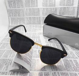 Wholesale Eyeglasses Khaki - Fashion Women Men luxury Sunglasses Unisex Semi-Rimless Sun glasses Brand Designer shade eyeglasses Lens 10 Color With All Box Case
