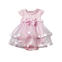 baby tutu romper red UK - INS Baby big bow TuTu Rompers One Pieces Infant Wear Kids Clothes Children Clothing 2018 Summer Jumpsuit and Romper Girl Sushine Dress D002