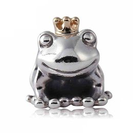 Wholesale Sterling Silver Gold Charms - Authentic 925 Sterling Silver Bead Charm Cute Frog Prince With Gold Crown Beads Fit Women Pandora Bracelet Bangle Diy Jewelry HKA3517