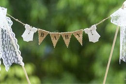 Wholesale Burlap Baby - Wholesale- Baby shower cake topper, cake banner, with white lace bodysuits and ribbon trim,Party Decoration,Burlap Banner