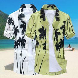 Wholesale Hawaii Shirts Wholesale - Wholesale- 2017 Summer Fashion Men Shirt Turn-down Collar Short Sleeve Hawaii Style Coconut Tree Printed Beach Casual Holiday Tops Y1101