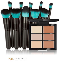 Wholesale Brush Plastic Handles - Hua Mian Li Makeup Concealer Foundation cream 6 Colors Contouring Palette + eyeshadow brush 10 black handle blue head Cosmetic brushes set