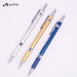 Wholesale Mechanical Pencil Leads - Wholesale- Cute Metal Mechanical automatic Pencils Simple 2mm lead holder Office School Supplies Stationery Japanese quality Art Supplies