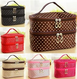Wholesale Multi Layer Case - Fashion Double layer small dots cosmetic bag makeup tool storage bag multifunctional Storage package free shipping