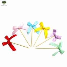 Wholesale Wholesale Ribbons Cupcakes - Wholesale- 12PCS Small Ribbon Bow Cupcake Topper Birthday Cake Pick Flag Wedding Baby Shower Birthday Cake Topper Decoration Party Supplies