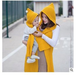 Wholesale Long Winter Warm Scarf Knit - Winter Scarf Children Hooded Knitted Fashion Small Ball Hats Children Long Hooded Scarves Boys Girls Baby Warm Scarf DHL Free Shipping