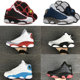 Wholesale Autumn Waterproof Shoes - High Quality 13s Basketball Shoes Leather 13s Black Toe 13s Bred Navy Game Grey Toe Flint Grey Sneakers Free Shipping
