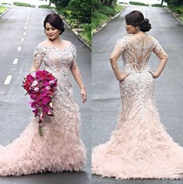 Wholesale Ivory Caps Skin - Skin Pink Heavy Beading Prom Dresses Plus Size Tulle Ruffles Tiered Sheer Back Long Sleeves Evening Gowns Dubai Arabia Sweep Train Dress