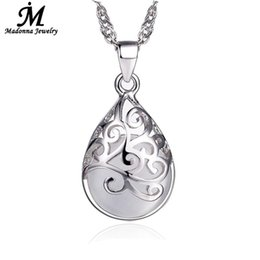 Wholesale Fountain Stones - Wholesale- New Fashion Silver Plated Pendant Pink And White Moonstone Stone Opal Pendant Hollow Design Love Trevi Fountain Women Jewelry