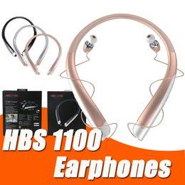 Wholesale Earphones For I Phone - HBS1100 Bluetooth Headset earphone High Quality New CSR 4.1 Neckband Sports Mic Headphones HBS 1100 for i phone 7 Note 8