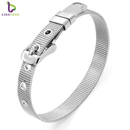 Wholesale Stainless Steel 8mm Wristband - Wholesale- Hot Sale 10pcs 8mm DIY Accessories Stainless Steel Wristband Bracelet Fit 8mm Slide Charms  Slide Letters LSBR01*10