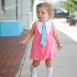 Wholesale Girls Tutu Tights - Everweekend Girls Ins Hot Sell Cotton Dress with Tight Pink Color Sweet Baby Summer Fashion Dresses Western Cute Clothing