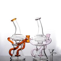 2019 vidro de disco duplo Bongos de vidro coloridos Double Recycler Disk Reciclar dab Rigs concentrar Tubos de água com junta de 14 mm vidro de disco duplo barato