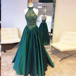 Wholesale Modern Goddess - Goddess High Neck Dark Green Prom Dresses 2017 Lace Top And Satin Lower A-Line Long Evening Gowns Zipper Backless Ruffle Formal Party Dress
