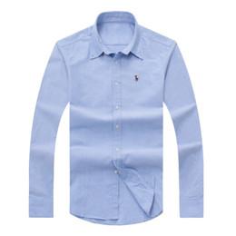 Wholesale Down Collar - Wholesale 2017 autumn and winter men's long-sleeved Dress shirt pure men's casual POLO shirt fashion Oxford shirt social brand clothing lar