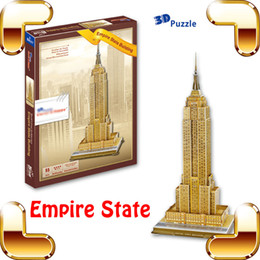 Wholesale Empire State Building 3d - New Year Gift Empire State 3D Puzzle Model High Rise Building Structure DIY Toy Educational Game Office House Decoration