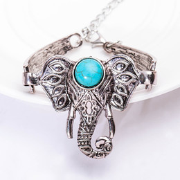 Wholesale Antique Turquoise Charm - Wholesale- Elephant Bracelets For Women Men Antique Silver Color Turquoise Charm Cuff Bangles Link Chain Ethnic Accessoires Jewelry