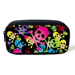 Wholesale Cartoon Character Bags For Kids - Wholesale- Cartoon Skull School Pencil Bags Girl Cosmetic Case Organizer for Make up Kawaii Kids Pencil Box Pouch Travel Women Makeup Bag