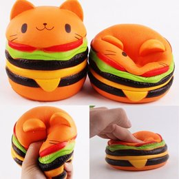 Wholesale Toys Cat Phone - Jumbo Hamburger Cat Squishy Kawaii Charms Squishies Burger Slow Rising Squeeze Soft Scented Phone Straps Toy Collection Simulation
