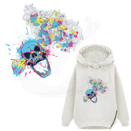 Wholesale Shot Skull - 2017 NEW Creative head shot skull T-shirt Dresses Sweater thermal transfer Printed A-level Washable Sticker iron on patch free shopping