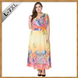 ad1fa751b38a4 Plus Size L-7XL Women Elegant Summer Dress V Neck Sleeveless Fashion Print  Boho Beach Dress Sexy Special Occasion Dress