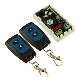 Wholesale waterproof button switch - Wholesale-Best Price AC 220 V 1CH Wireless Remote Control Switch System Receiver Transmitter 2 Buttons Waterproof Remote 315mhz 433.92mhz