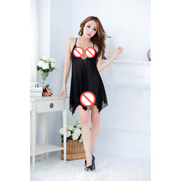 Wholesale Adult See Through Dresses - Plus Size Adult Lady Lingerie Sexy Underwear For Women Lace Deep-V Mesh Gauze Sleepwear Home Dress Exotic Apparel Babydolls Costumes