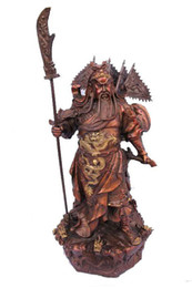 """Wholesale h ornament - Large Chinese bronze red copper Nine Dragon Warrior Guan Gong  Yu Statue 15""""H"""