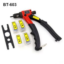Wholesale M4 Sales - hot sales free shipping 8 inch 200mm hand riveter rivet gun riveting tools M3 M4 M5 M6 dies BT603 plastic case packeage