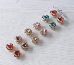 Wholesale Hijab Pin Brooches - Wholesale- heart Jewelry Unisex Magnet Brooch 6color Big Rhinestones Shirt Collar Clip Clothing Accessory Starfish Brooches Badge Hijab Pin