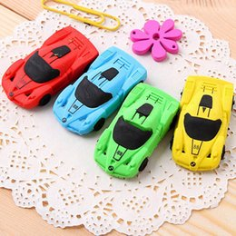 Wholesale Soft Eraser - Creative Children cartoon stationery rubber cute Sports car eraser pupil award gift Emoji Eraser WD466