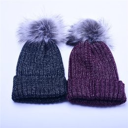Wholesale Mink Fur Yarn - Wholesale Mink Fur Pom Poms Knitted Hat Ball Beanies Winter Hat For Women Girl 'S Wool Hat Cotton Skullies Female Cap