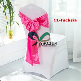 Wholesale white polyester chair covers wholesale - White Spandex Chair Covers With Fuchsia Satin Chair Sash Free Shipping