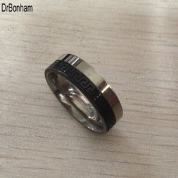 Wholesale cheap men wedding ring - Punk black silver Stainless Steel Greek Key Ring 8mm men boys Wedding Band cheap price retail Comfort-Fit, sizes 7 - 12