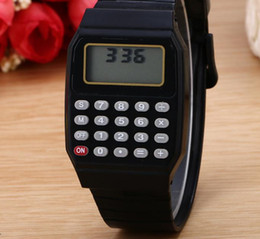 Wholesale Rubber Rectangle - Classic Digital Calculator Watch Silicone Date Multi-Purpose Fashion Children Kid Electronic Wristwatch Party Favors Holiday gift colorful