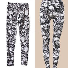 Wholesale Punk Skull Print - Wholesale- 2016 New Arrival Brand Fashion Gothic Punk Rock Skull Printed Leggings For Women Girl Leggings Women's Clothing
