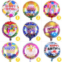 Wholesale Kids Balloons Wholesale - 18 inch Happy Birthday Heart Air Balls Aluminum Foil Balloons Party Decorations Kids Helium Ballon Party Supplies ZA4064