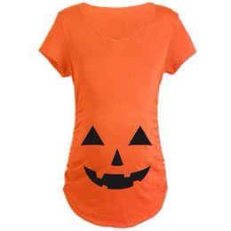Wholesale Pregnant Halloween - Pregnant Halloween T-shirt Maternity Pumpkin Gift Tops Plus Size 3XL Short Sleeve Nursing Tees Female Pregnant Clothes