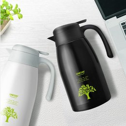 Wholesale Steel Vacuum Coffee Pot - Large capacity insulated vacuum coffee pot, 304 stainless steel thermos bottle,drinking cup (2L, with cover, with handle, black, white,gold)
