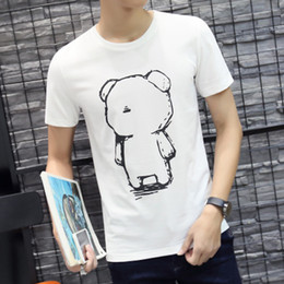 Wholesale Korean Men S Casual T - The summer male cotton short sleeved t-shirt t-shirt young Korean slim Short Sleeve Shirt Mens T-shirt printing summer tide bear stamp