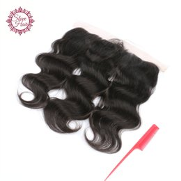 kl hair Coupons - KL 8A Virgin Peruvian Ear to Ear Lace Closure Bleached knots Hair Lace Frontal Closure 13x4 With Free Shipping Body Wave Human Hair