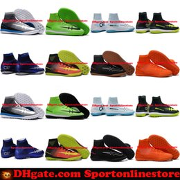 Wholesale Cr7 White Indoor Shoes - New Mens MercurialX Proximo II DF Mercurial CR7 Superfly IC TF Astro Turf Soccer Cleats Soccer Shoes Indoor Football Boots Cristiano Ronaldo